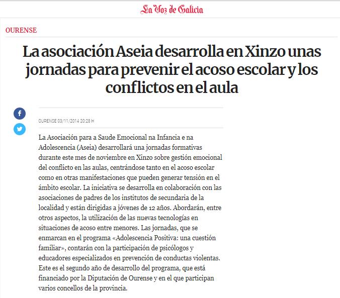 Xornadas en Xinzo para a prevención do acoso escolar