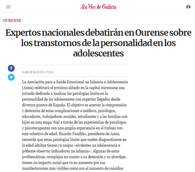 Expertos nacionais debaterán en Ourense sobre transtornos da personalidade en adolescentes