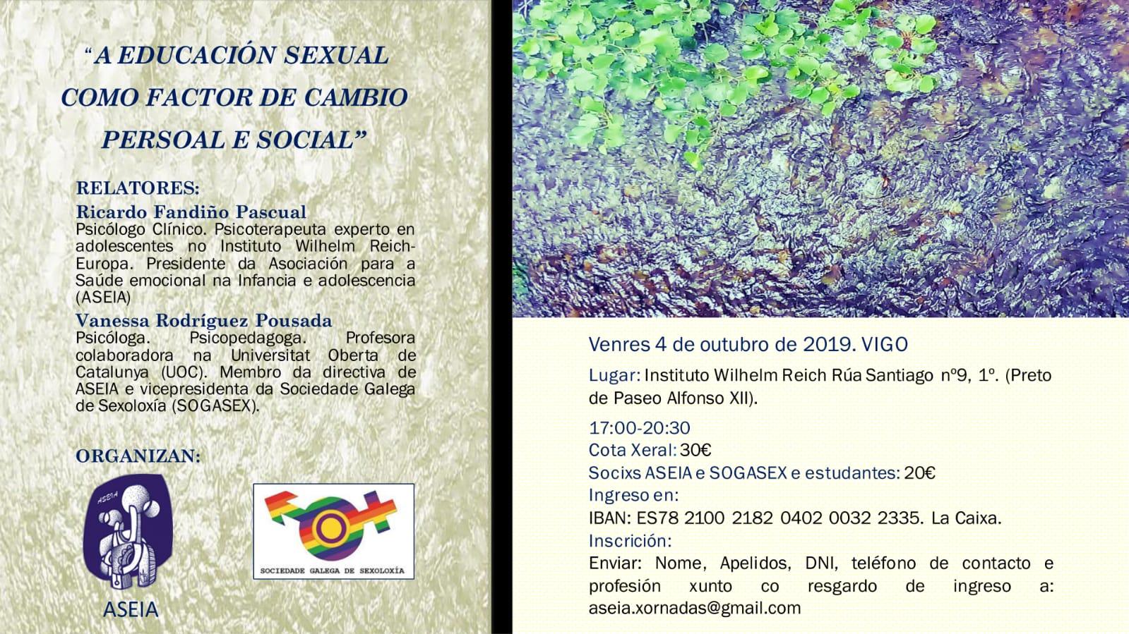 O pasado venres 4 de outubro celebrouse na sede do Instituto Wilhelm Reich-Vigo, o curso monográfico «A educación sexual como factor de cambio persoal e social».